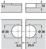 Klepscharnier Plano medial 30 mm WIT_